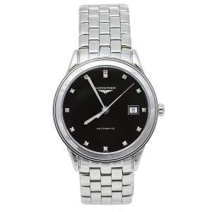 Longines Black Stainless Steel Diamonds Flagship L4.874.4.57.6 Automatic Men's Wristwatch 39 mm