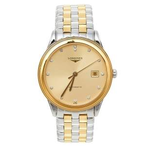 Longines Champagne Two-Tone Stainless Steel Flagship L4.974.3.37.7 Men's Wristwatch 38.50 mm