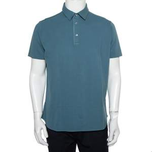 Loro Piana Blue Stretch Cotton Polo T-Shirt L