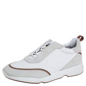 Loro Piana White Suede And Neoprene Modular Walk Sneakers Size 43.5