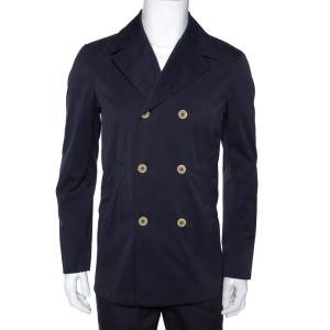 Loro Piana Midnight Blue Cotton Double Breasted Coat XS