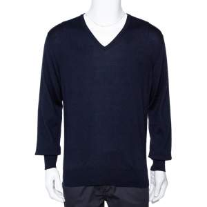 Loro Piana Navy Blue Cashmere V-Neck Sweater XL