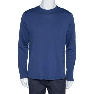 Loro Piana Navy Blue Silk & Cotton Long Sleeve T-Shirt L