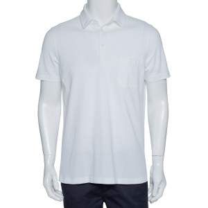Loro Piana White Stretch Cotton Polo T-Shirt M
