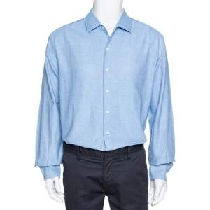 Loro Piana Blue Textured Cotton Long Sleeve Shirt XXL
