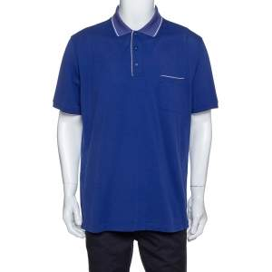 Loro Piana Indigo Stretch Cotton Pique Polo T-Shirt XXXL