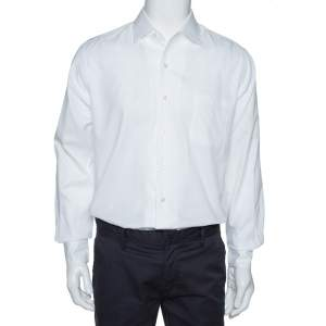 Loro Piana White Cotton Oxford Button Front André Shirt L