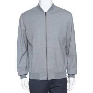 Loro Piana Light Grey Wool Storm System Bomber Jacket L