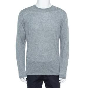 Loro Piana Grey Cashmere Crewneck Sweater L