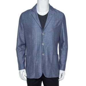 Loro Piana Blue Cashmere Silk Knit Sweater Jacket L