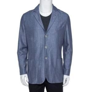 Loro Piana Blue Cashmere Silk Knit Sweater Jacket L