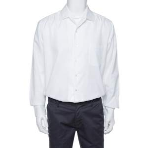Loro Piana White Cotton Long Sleeve Shirt XL