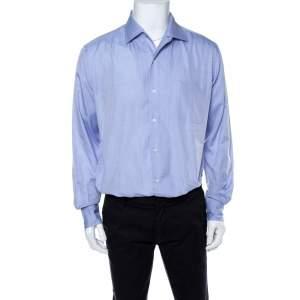 Loro Piana Blue Cotton Long Sleeve Shirt L
