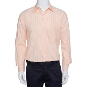 قميص لورو بيانا أزرار أمامية قطن مخطط برتقالي مقاس متوسط