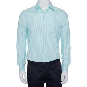 Loro Piana Blue Striped Cotton Button Front Shirt M