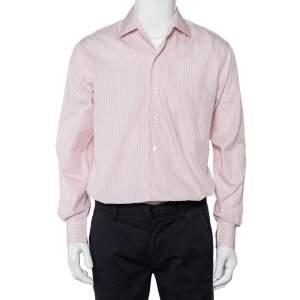 قميص لورو بيانا قطن أبيض مخطط بأزرار أمامية مقاس متوسط - ميديوم