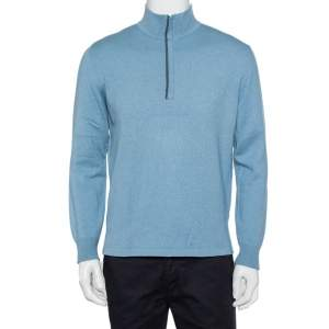 Loro Piana Blue Cashmere & Silk Half Zip High Neck Sweater M
