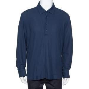 Loro Piana Navy Blue Cotton Pique Long Sleeve Polo T-Shirt 3XL