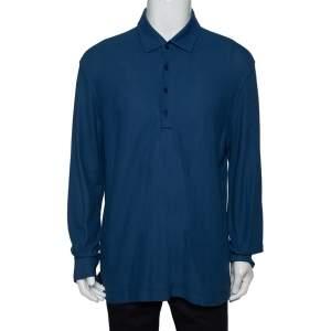 Loro Piana Blue Cotton Pique long Sleeve Polo T Shirt 3XL