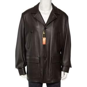 Loro Piana Brown Deer Leather Button Front Blazer Jacket XXL