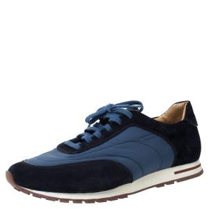 Loro Piana Blue Suede And Nylon Low Top Sneakers Size 44