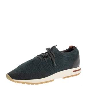 Loro Piana Blue/Brown Merino Wool Knit 360 Flexy Walker Slip On Sneakers Size 43