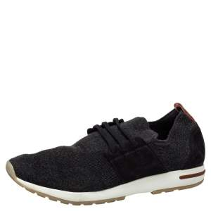 Loro Piana Dark Grey Knit Fabric And Nubuck Slip On Sneakers Size 45