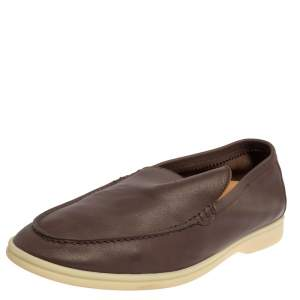 Loro Piana Brown Leather Summer Walk Slip On Loafers Size 45