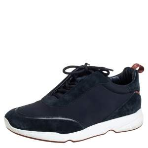 Loro Piana Navy Blue Suede And Neoprene Modular Walk Sneakers Size 43.5