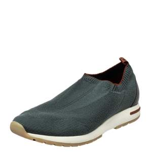 Loro Piana Grey Knit Fabric 360 Flexy Walk Slip On Sneakers Size 43