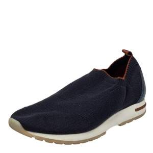 Loro Piana Blue Knit Fabric 360 Flexy Walk Slip On Sneakers Size 43