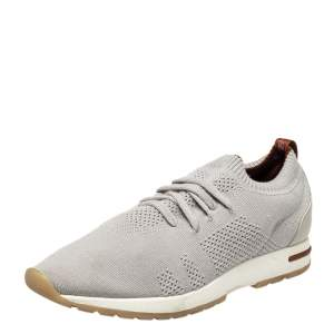 Loro Piana Grey Knit Fabric Flexy Walk Sneakers Size 43