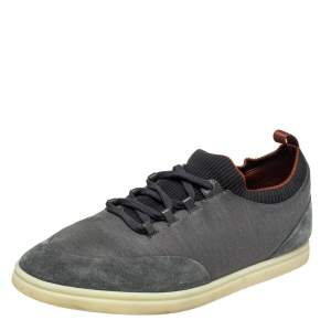 Loro Piana Grey/Black Fabric And Suede Low Top Sneakers Size 44