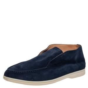Loro Piana Blue Suede Summer Walk Slip On Loafers Size 42