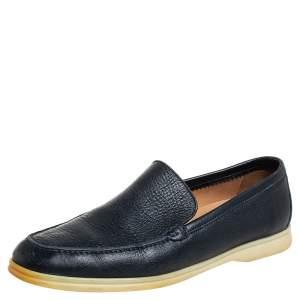 Loro Piana Navy Blue Leather Summer Walk Slip On Loafers Size 43.5