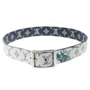 Louis Vuitton White/Blue Monogram Savane Canvas Chapman Brothers Reverso Belt Size 95 cm