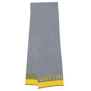 Louis Vuitton Grey & Yellow Logo Wool Louis Scarf