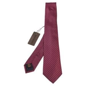 ربطة عنق لوي فيتون حرير مخطط وردي بيري