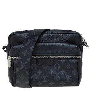 Louis Vuitton Black Taiga Leather and Monogram Eclipse Canvas Outdoor Messenger Bag