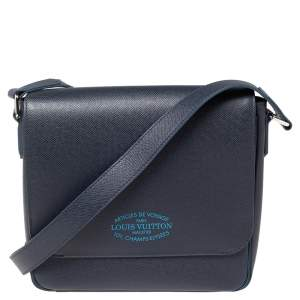Louis Vuitton Blue Marine Taiga Leather Roman PM Bag