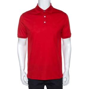 Louis Vuitton Red Cotton Pique Short Sleeve Polo T-Shirt M