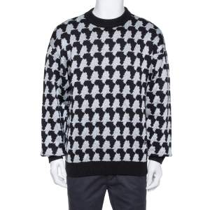 Louis Vuitton Monochrome Lurex Jacquard Crewneck Sweater L