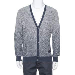Louis Vuitton Navy Blue & White Knit Striped Pattern Cardigan L