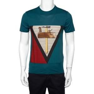 Louis Vuitton Teal Blue Cotton Patch Detail Crewneck T-Shirt XS