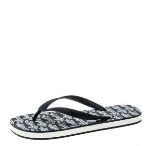 Louis Vuitton Monochrome Logo Print Rubber Molitor Thong Flip Flops Size 42