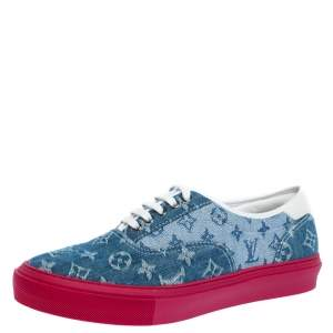 Louis Vuitton Blue Monogram Denim Trocadero Low Top Sneakers Size 41.5