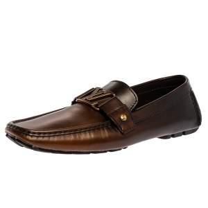 Louis Vuitton Dark Brown Leather Montaigne Moccasins Size 43.5