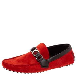 Louis Vuitton Red Suede Leather Oxford Slip On Loafers Size 39.5