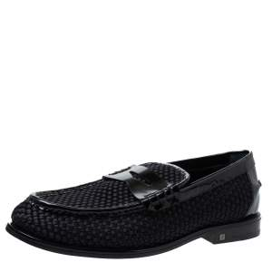 Louis Vuitton Black Patent Leather And Woven Satin Penny Slip On Loafers Size 41.5