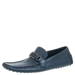 Louis Vuitton Blue Grained Leather Major Logo Slip On Loafers Size 41.5